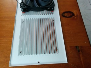 This is a regular air return grille.  I drilled a couple holes for the fan with the drill press
