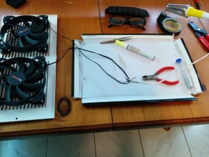 Wires for the fans ready to be soldered together