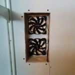 Fans are mounted in the hole.  the drywall screws around the outside edges are to hold the 2 by 4 framing