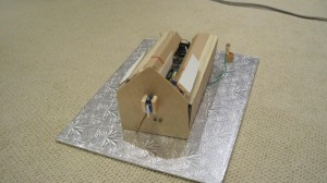 Rear view - the servo in the back turns the chimney piece