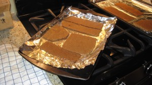 Here are the gingerbread pieces coming out of the oven.